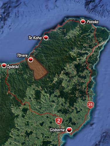 Rohe map for Ngāitai (Bay Of Plenty).