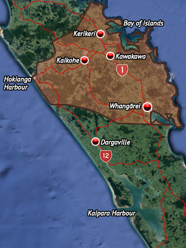 Rohe map for Ngāpuhi.